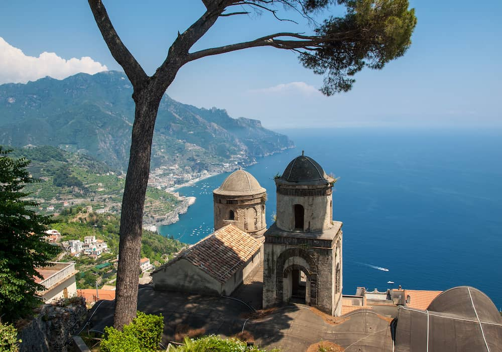 View over Gulf of Salerno from Villa Rufolo, Ravello, Campania, Italy