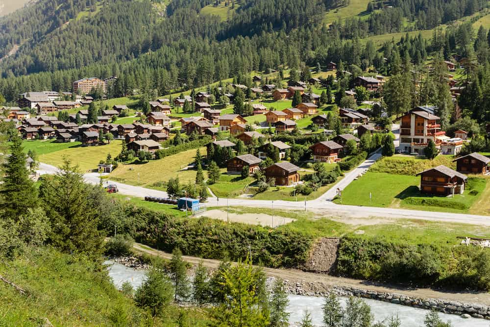 View on the picturesque Alpine village Zinal in the Pennine Alps in the swiss canton Valais in summer. Val d' Anniviers, Switzerland