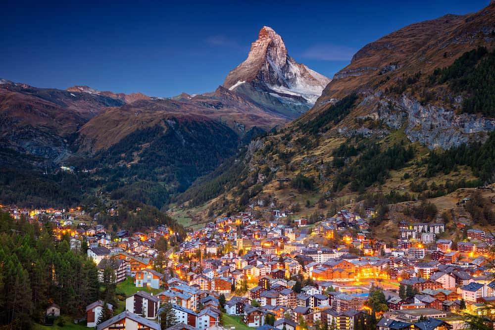 Zermatt. Image of iconic village of Zermatt, Switzerland with Matterhorn in the background during twilight.