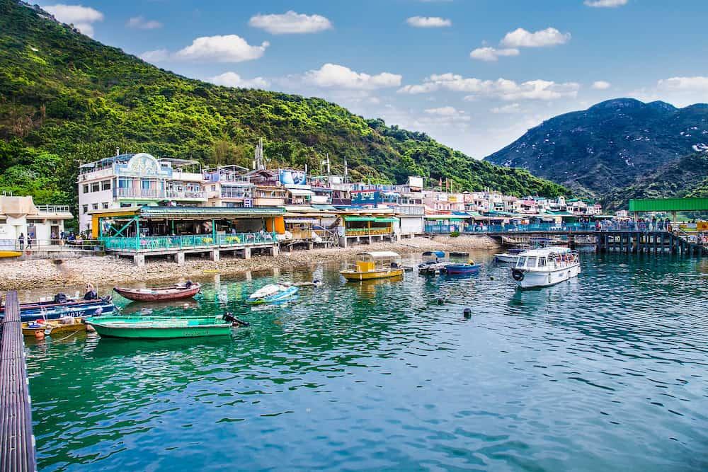 LAMMA, HONG KONG-Restaurants overlooking the sea in the small Chinese port of Lamma island.