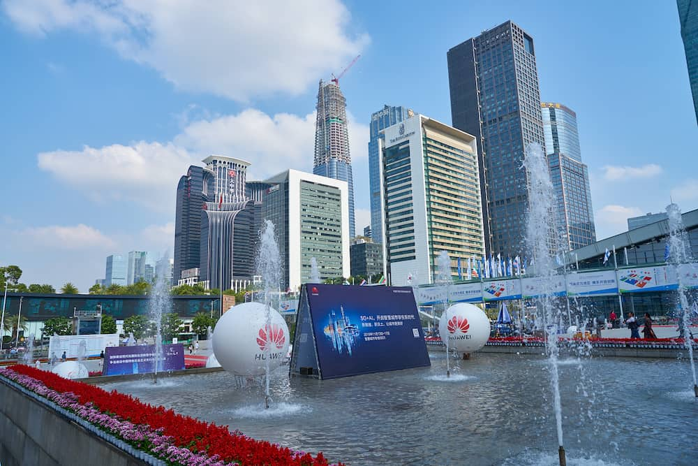 SHENZHEN, CHINA - view from Shenzhen Convention & Exhibition Center during China Hi-Tech Fair 2019.