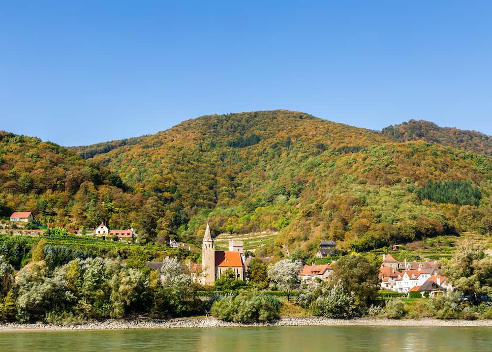 An Austrian village from the deck of a river cruise ship on the Danube River