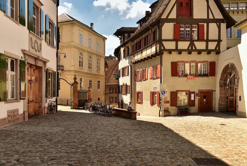 BASEL, SWITZERLAND - Old town Grossbasel. Historical houses on the Muensterberg street. City of Basel, Switzerland, Europe