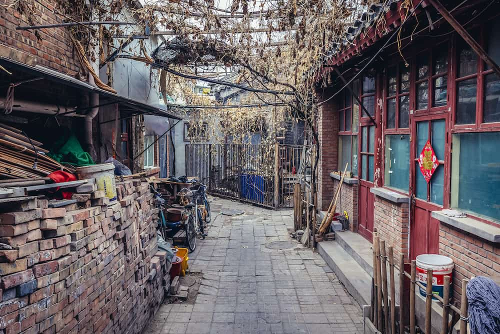 Beijing, China - Buildings in hutong area of Dongcheng district of Beijing capital city