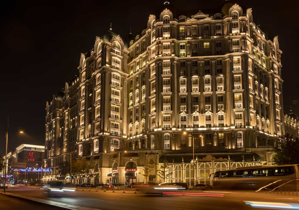 BEIJING, CHINA - Illuminated exterior of Legendale hotel in Beijing China
