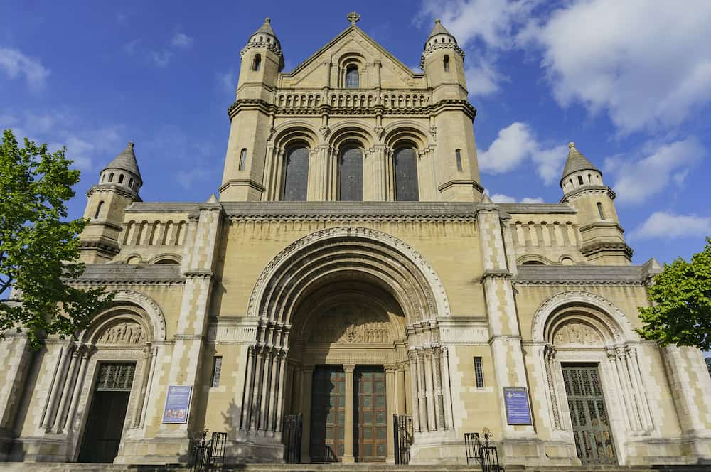 Exterior view of the historical St Anne's Cathedral Belfast