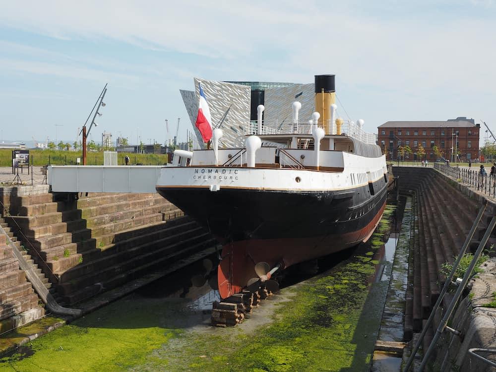 BELFAST, UK - SS Nomadic tender ship of the White Star Line in Titanic Quarter