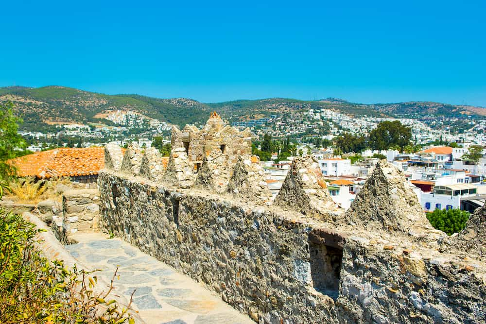 Panoramic view from tower wall of Bodrum Castle Aegean sea Turkey