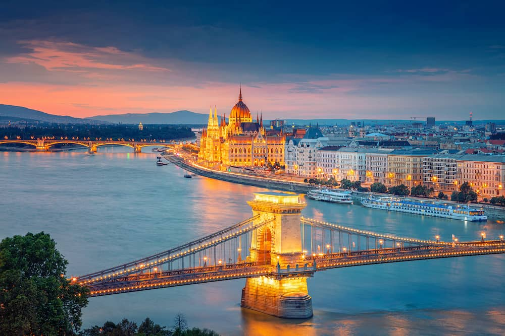 Budapest, Hungary. Aerial cityscape image of Budapest with Chain Bridge and parliament building during summer sunset.
