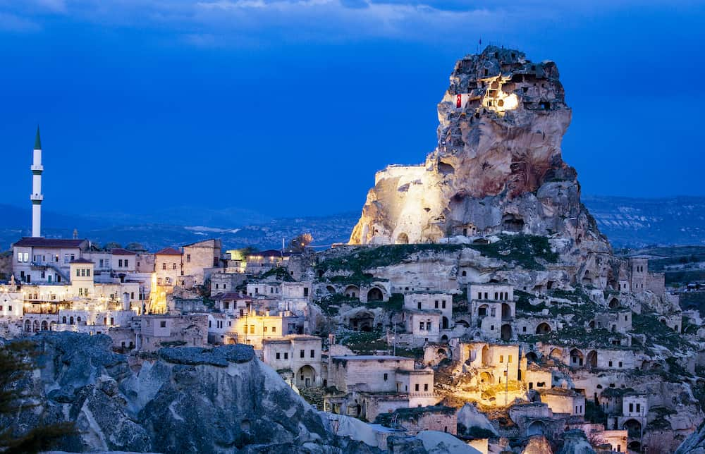 Ortahisar Castle in Cappadocia, Turkey ancient park