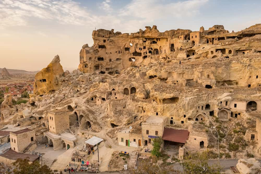 Sunset view of the Cavusin fortress and church Vaftizci Yahya, Saint John the Baptist in Cappadocia, Turkey