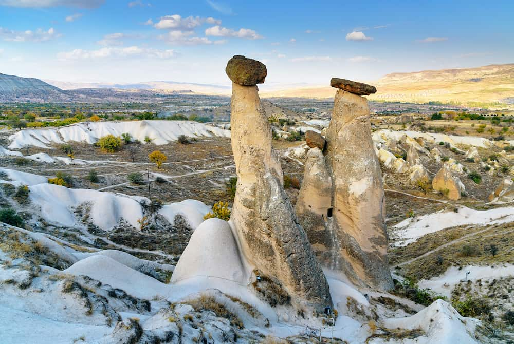 View of Fairy chimneys near Urgup in Cappadocia. Nevsehir Province. Turkey