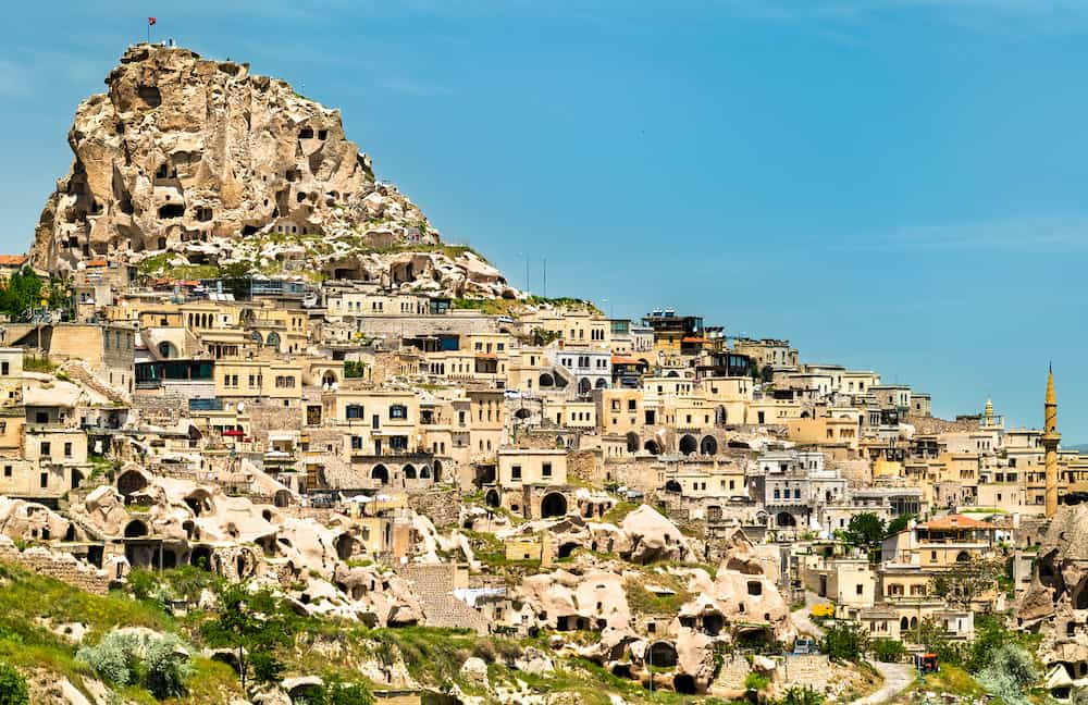 View of Uchisar town and castle from Pigeon Valley in Cappadocia, Turkey