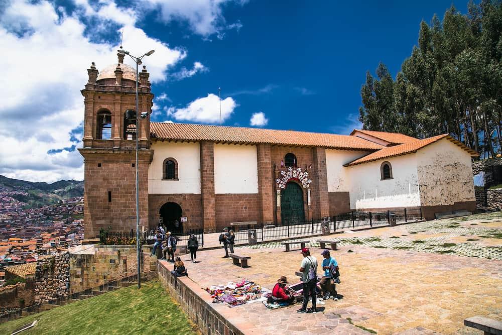 Cusco , Peru-Church of the San Cristobal with panoramic view on Cusco city, Peru.