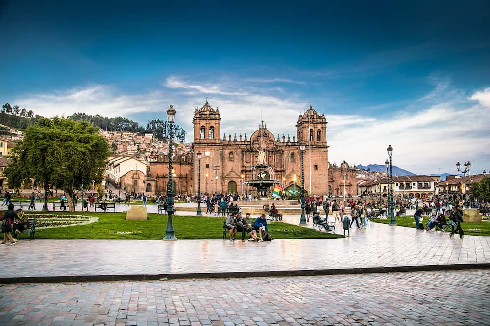 Cusco, Peru - Historic Colonial Buildings on the Plaza de Armas Square with Many Visitor at Night, Cusco, Peru, South America,
