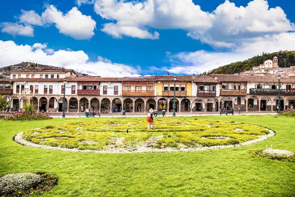 Cusco , Peru- Plaza de Armas square with historical houses, Cusco , Peru.