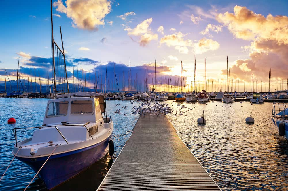 Beautiful sunset on the shore of Lake Geneva in Lausanne, Switzerland