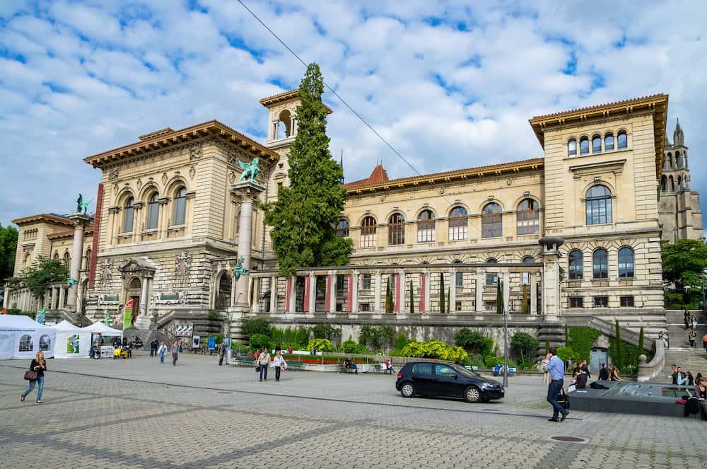 LAUSANNE SWITZERLAND - Everyday life on Place de la Riponne near Palais de Rumine in the center of Lausanne