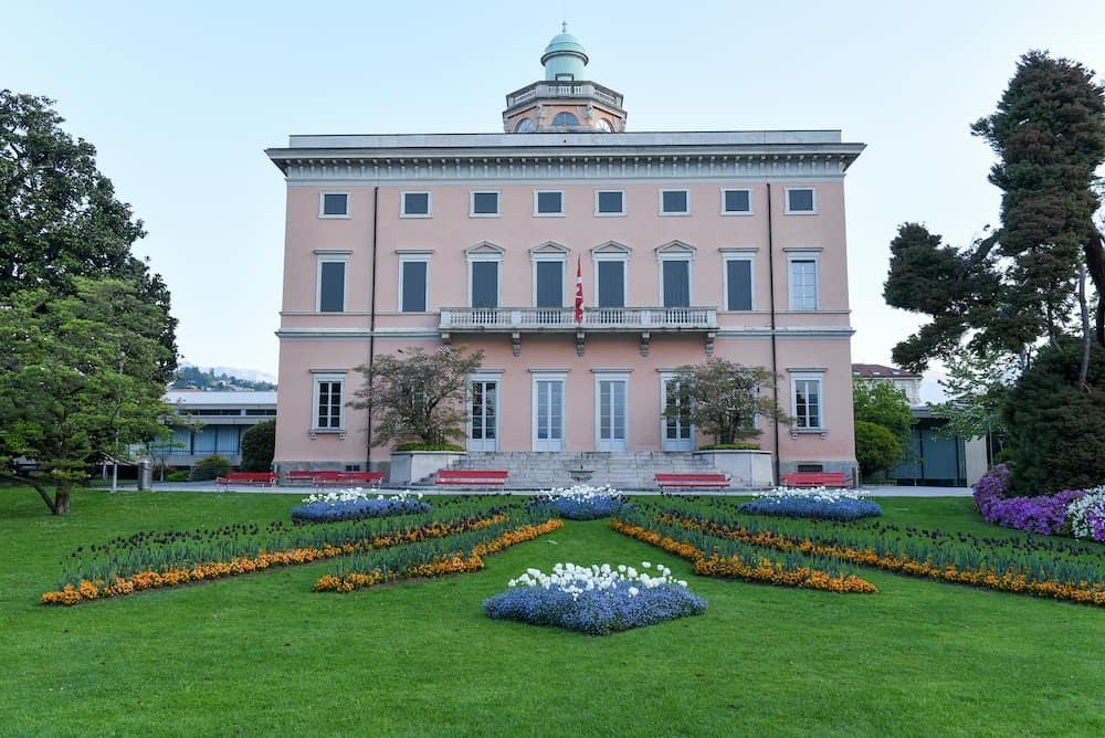 Lugano Switzerland - The villa on Ciani botanical park in the center of Lugano Switzerland