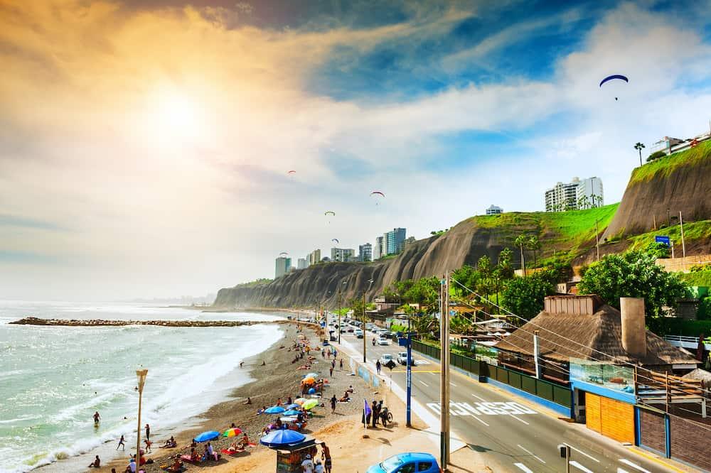 Lima, Peru - Beautiful coast of Pacific ocean in Miraflores district in Lima, Peru