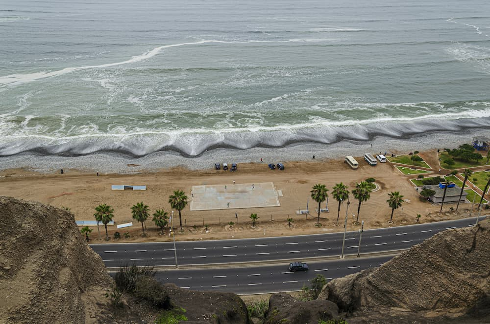 Panoramic view of a beach and the Pacific Ocean near the Miraflores neighborhood. Lima Peru