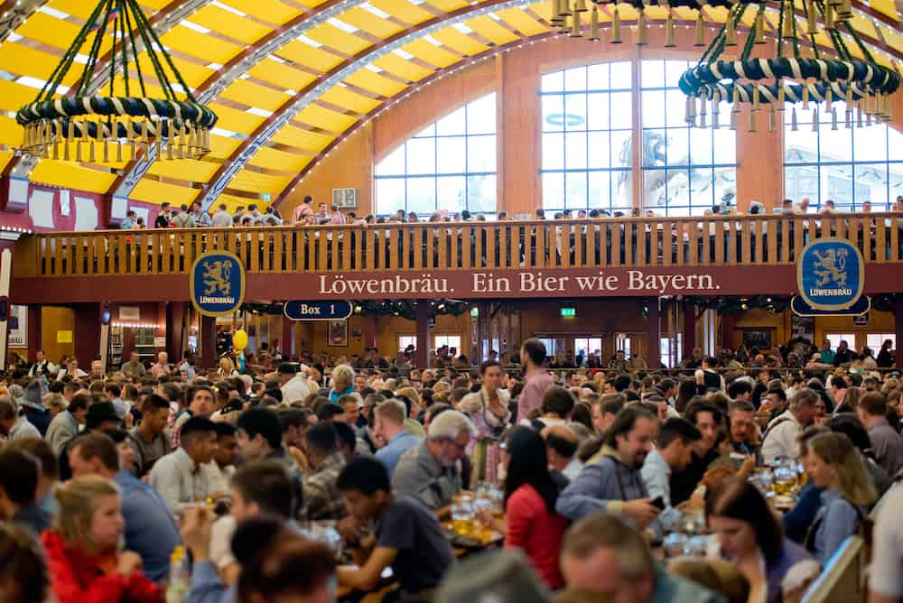 Munich, Germany - Beer pavilion at the biggest folk festival in the world - the oktoberfest.