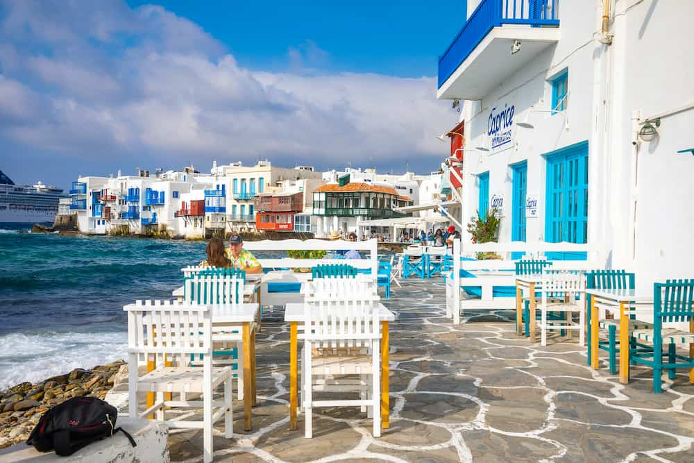 Mykonos, Greece - Famous Mykonos town colorfull little venice, Mykonos island, Cyclades in Greece