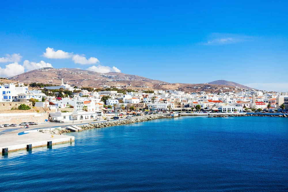 Tinos island aerial view. Tinos is a Greek island situated in the Aegean Sea located in the Cyclades archipelago Greece.