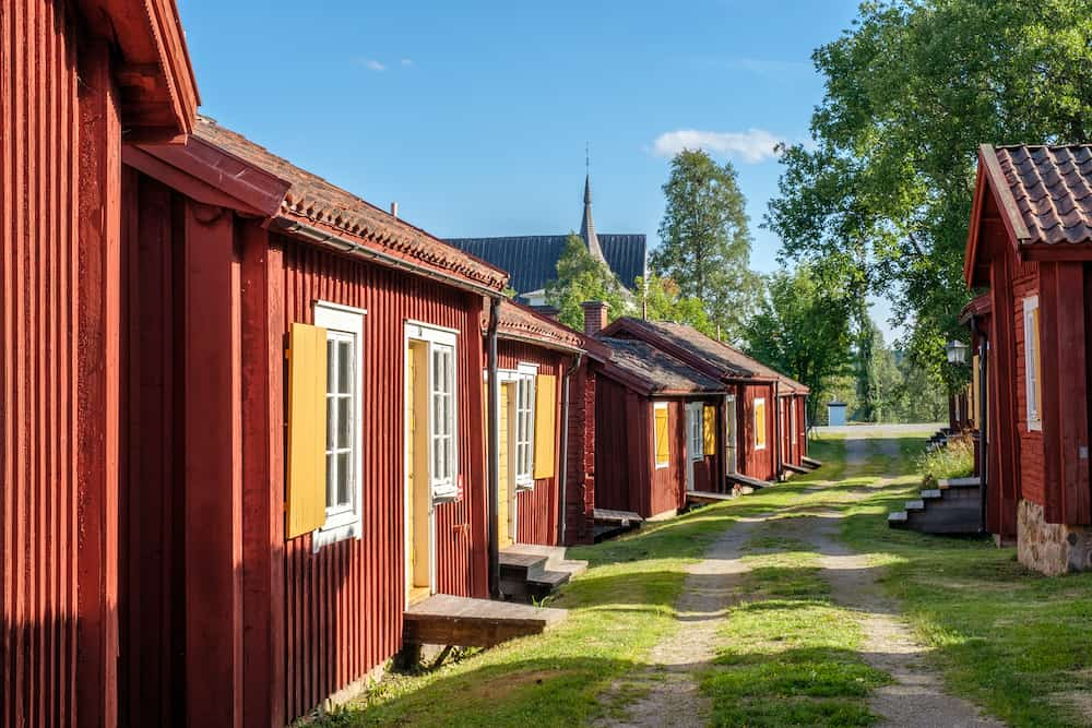 LOVANGER, SWEDEN - Lovanger church town in northern Sweden dates back to the 17th century and consists of 117 cottages of which many are used for hostel lodging.