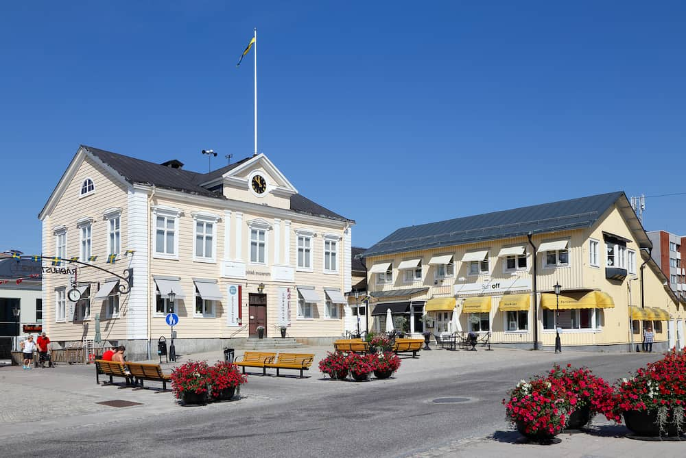 Pitea, Sweden - The former town hall (left) located at the square Radhustorget houses the Pitea Museum.