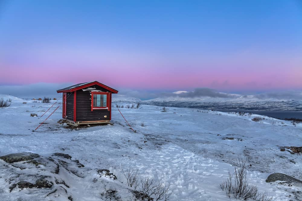 house to observe the northern lights to. Abisko Sweden. Winter. Polar night. long exposure