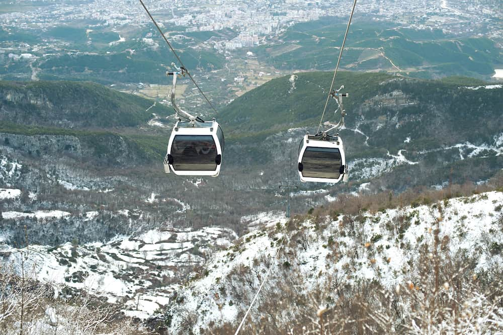 Aerial view to Tirana from Dajti Express cable car, Albania sightseeing and leisure