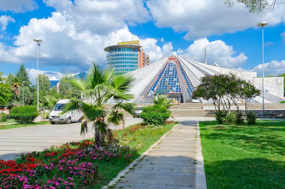 "TIRANA ALBANIA - Building ""Pyramid"" (former museum of communist dictator Enver Hoxha) on Boulevard of Martyrs (Bulevardi Deshmoret e Kombit) Tirana Albania"