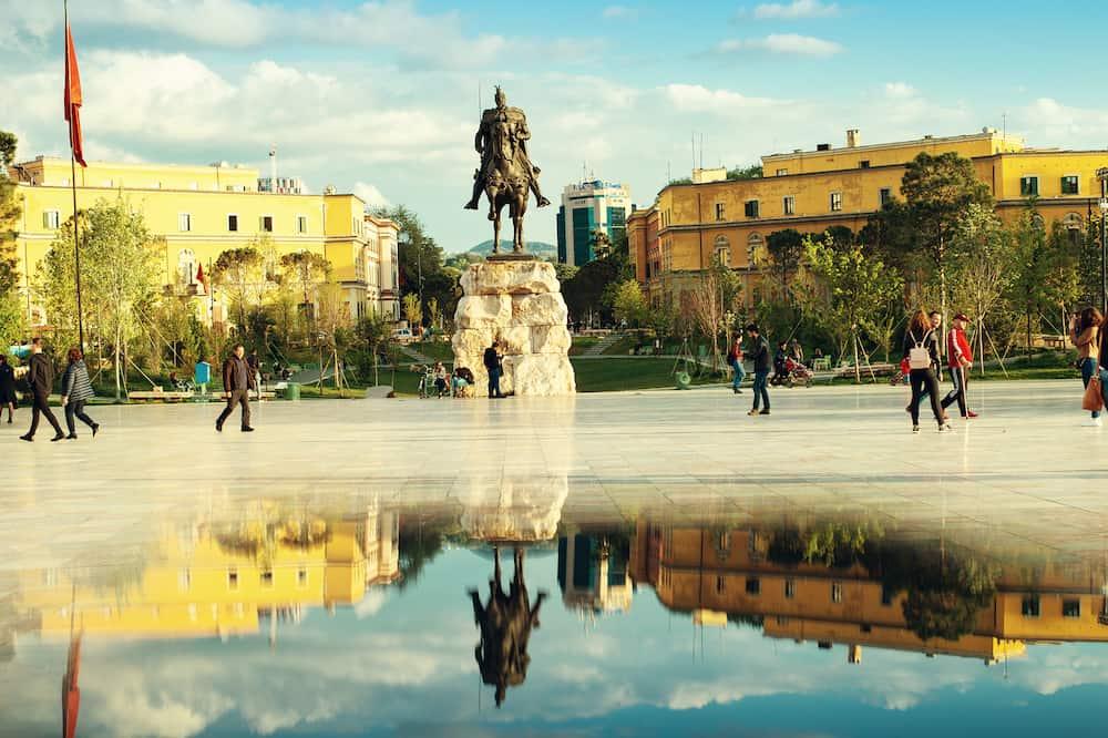 Tirana, Albania.The Skanderbeg Square city center of Albanian Capital, people walking main square.