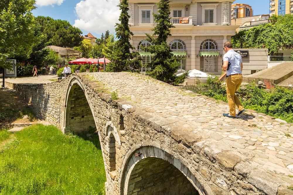 Tirana, Albania- The Tanners bridge, or Tabak bridge, a ottoman stone arch bridge built in the 18th century. It is located in Tiranas modern center.
