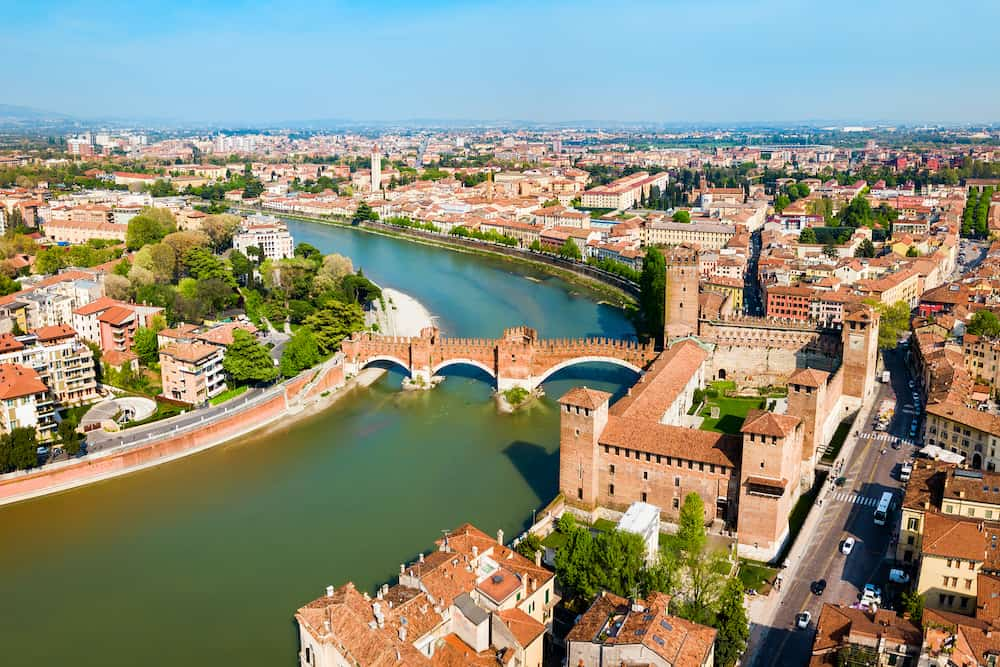 Castelvecchio or Old Castle and Scaligero bridge aerial panoramic view in Verona, Veneto region in Italy