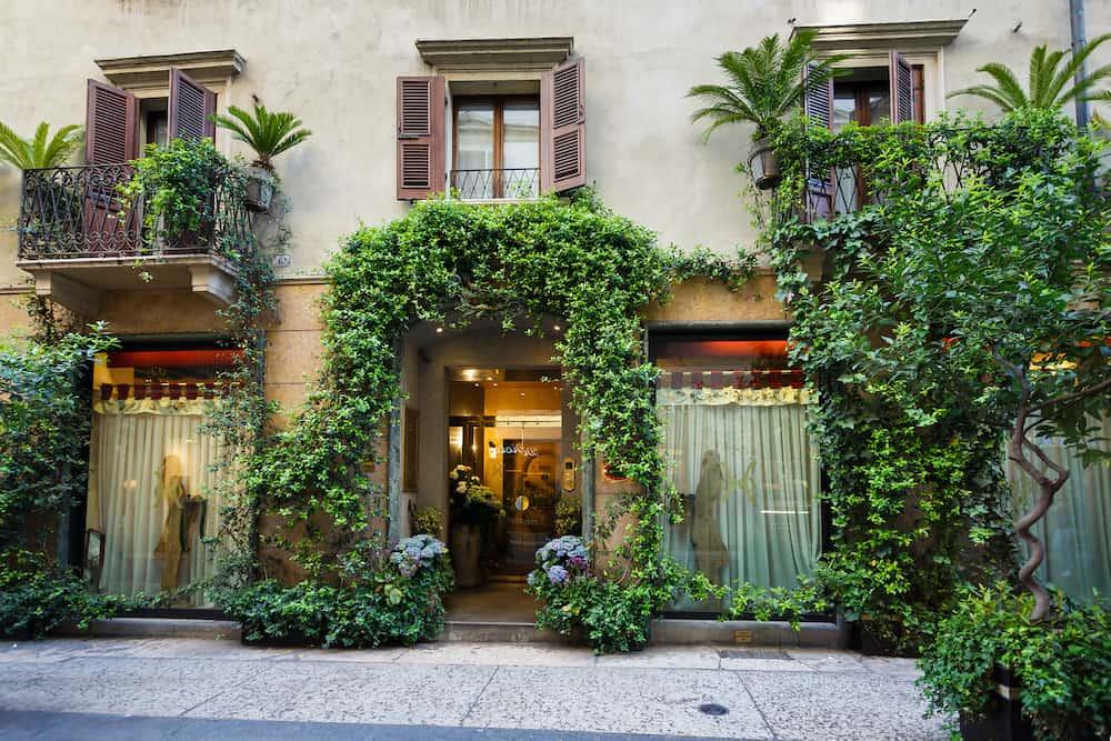 Verona Italy - Entrance to Hotel Gabbio D'oro located on a Borsari pedestrian street