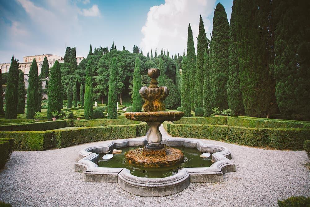 Giusti garden in Verona Italy. Architecture and landmark of Verona. Postcard of Verona.