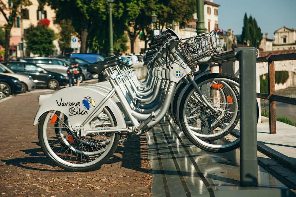 Italy, Verona - Street rental of bikes to move around the city.