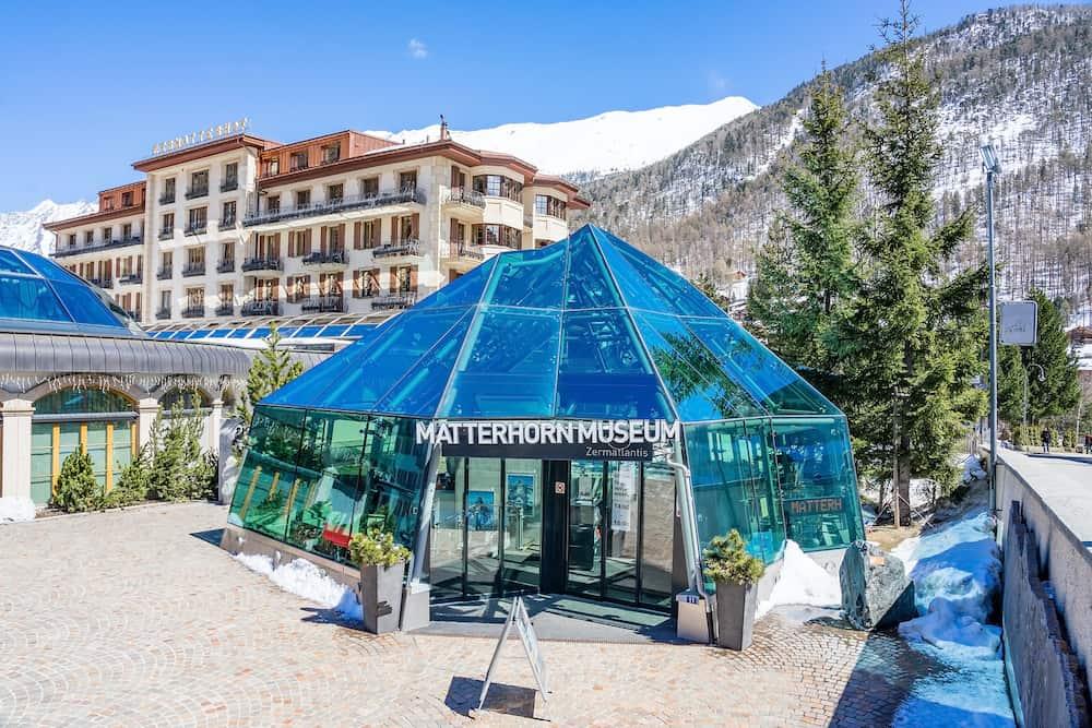 ZERMATT, SWITZERLAND - Exterior of the Matterhorn museum entrance in Zermatt, Switzerland.