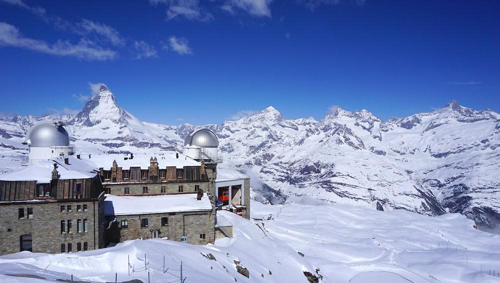 Gornergrat train station and Matterhorn peak in the background Zermatt Switzerland