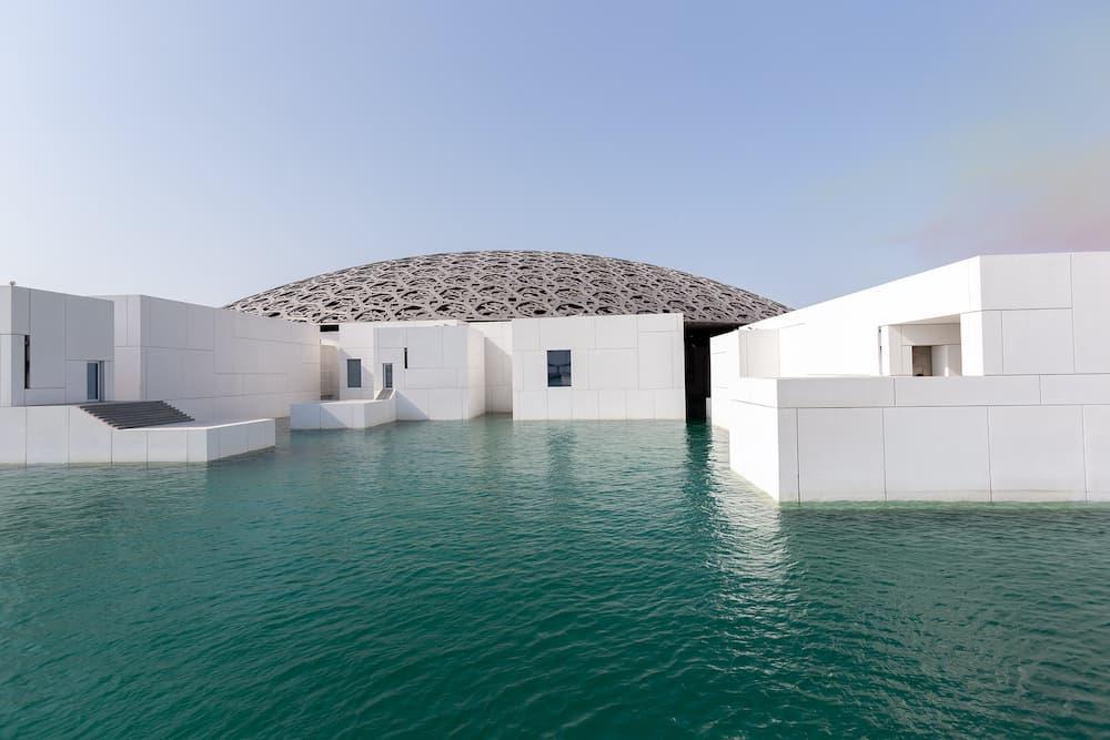 ABU DHABI, UAE - Famous building of Louvre museum in Abu Dhabi, UAE