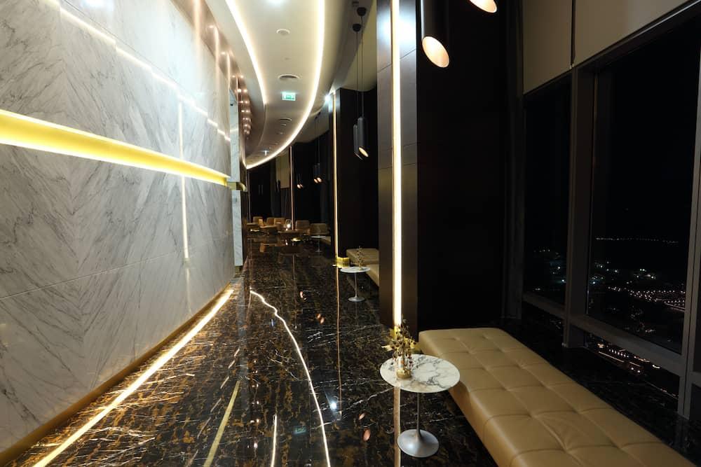 ABU DHABI, UAE - Observation Deck at 300 inside of the Etihad Towers, Abu Dhabi, City. Abu Dhabi, United Arab Emirates