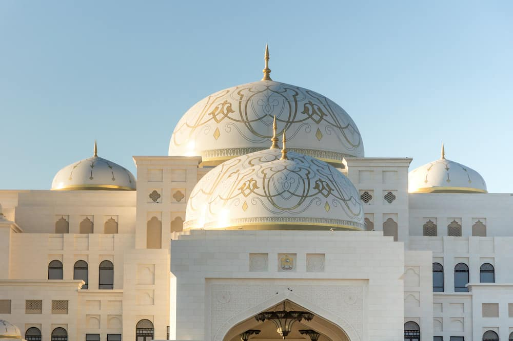 Qasr Al Watan, UAE Presidential Palace, Abu Dhabi, opened to public on March 12th. Close up view on the main entrance and main domes of the palace.