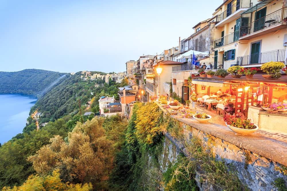 Albano Lake shore and city of Castel Gandolfo Lazio Italy