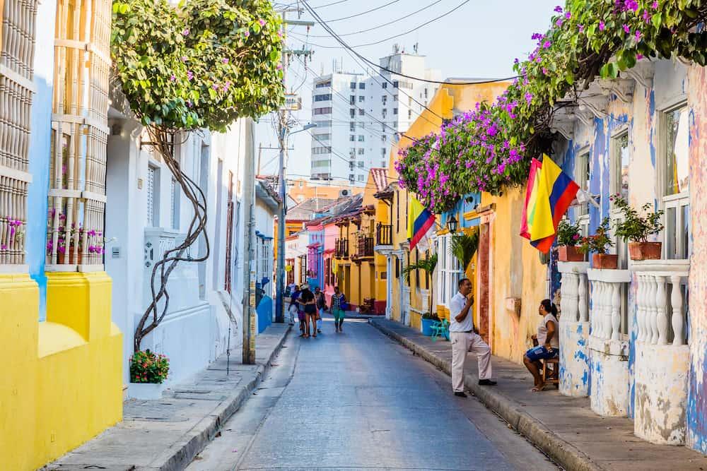 Cartagena , Colombia - Colorful streets of Getsemaniaera of Cartagena de los indias Bolivar in Colombia South America