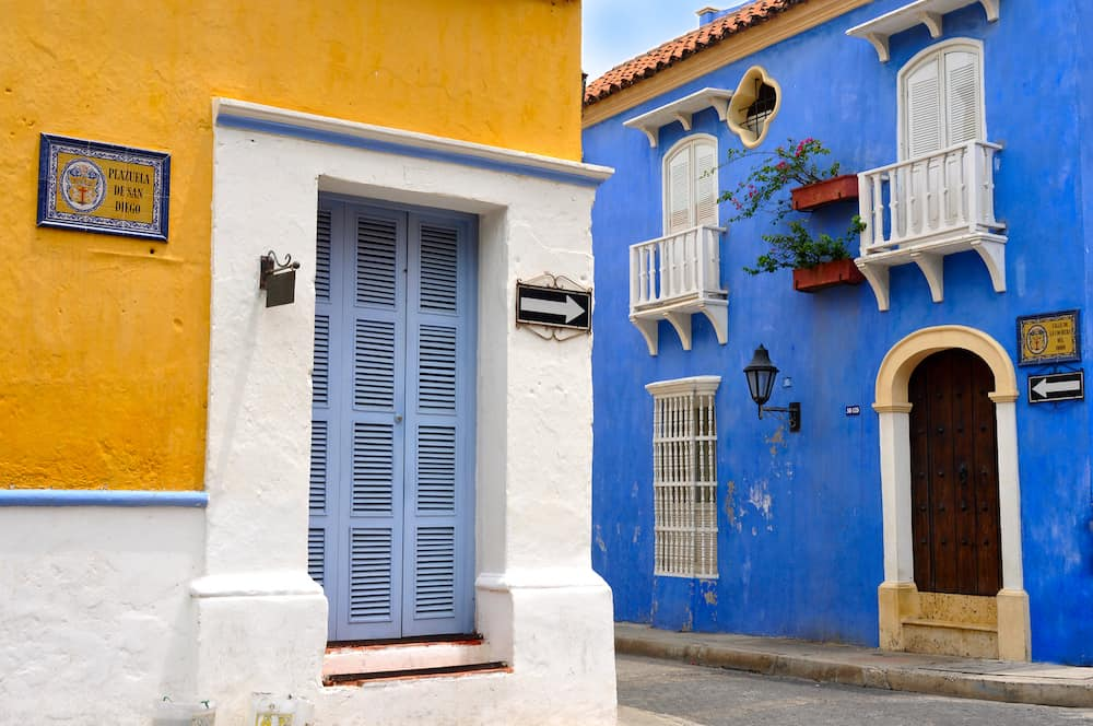 Typical Colonial houses San Diego Square in the Old City of Cartagena Colombia