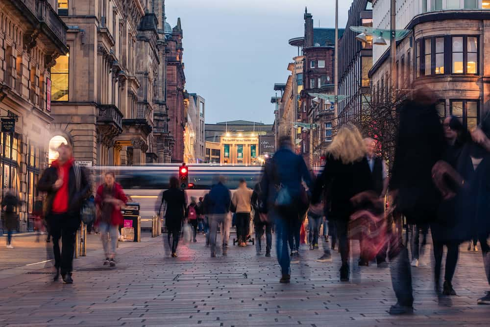 Glasgow / Scotland - Buchanan street busy with shoppers and commuters during the evening rush hour
