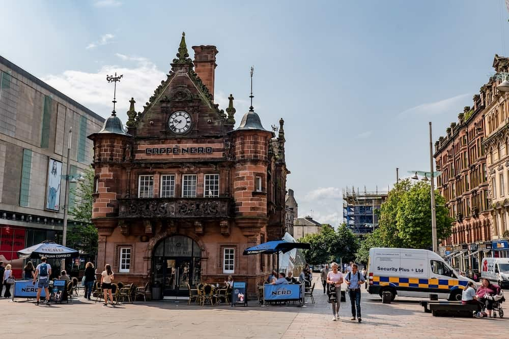 GLASGOW, SCOTLAND - The former St Enoch subway station at St Enoch Square in Glasgow which is used as retro Caffe Nero nowadays