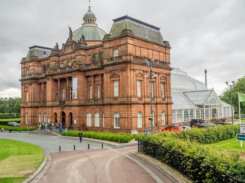 GLASGOW, SCOTLAND - Exterior facade of the People's Palace and Winter Garden on July 21, 2017 in Glasgow, Scotland. This area is one of Europe's largest urban parks.